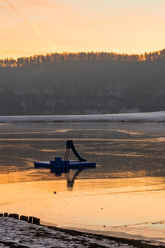 golden morning at the frozen lake