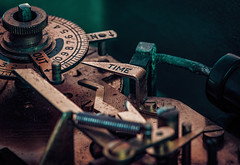 Timeswitch Psychosis (Pixelated Sky) Tags: electricity mercury toxin psychotic steampunk contraption madness clockwork clock corrosion time complex switch macromondays macro timer