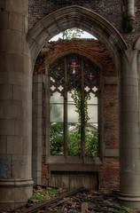 City Methodist Chapel Window (Vail Marston) Tags: city urban plant abandoned church window architecture arch pillar indiana stainedglass vegetation gary column methodist derelict hdr ruined artglass urbex 2015 citymethodist