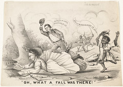 """Oh, what a fall was there!"" (Boston Public Library) Tags: crossdressing prints presidents politicalcartoons chasing jeffersondavis lithographs unitedstatescivilwar"