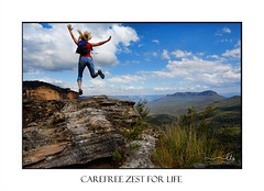 Woman Hiker, Tourist leaping for joy in  mountain landscape (sugarbellaleah) Tags: female jumping joy leaping woman hiker traveller tourist tourism bluemountains cliffs high zest wellbeing wellness jamisonvalley valley people backpack hiking fun success landscape katoomba bluemountainsnationalpark jeans wilderness nationalpark escape holiday vacation recreation leisure view scenic scenery trees forest gumtrees australia rocks geology