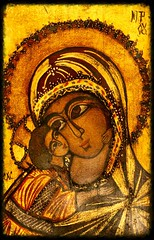 Mother and Child... (deanspic) Tags: portrait icon iconography mary virginmary christmas orthodox greekorthodox gold goldleaf rosettemociornitza byzantine byzantineicon g3x