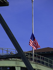 Flag At Half-Mast (swong95765) Tags: flag unitedstates america remembrance colors flying sky halfmast