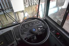 Stagecoach Merseyside 29884 - CX02 ECT (North West Transport Photos) Tags: gillmoss stagecoach stagecoachmerseysideandsouthlancashire stagecoachmerseyside busdepot bluebird aare bluebirdaare first pmt firstpmt firstchester 29884 cx02ect 60034 americanschoolbus interior businterior dashboard steeringwheel