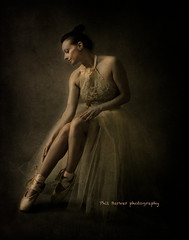 Checking the slippers (barksworld) Tags: ballet portrait beauty textured brown lighting oldmaster subtle
