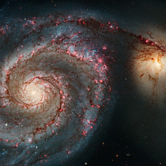 Whirlpool Galaxy (sjrankin) Tags: acs galaxy hst m51 messier ngc5194 ngc5195 wfc extragalactic interacting 24january2017 edited nasa hubblespacetelescope huge 3680mb whirlpoolgalaxy