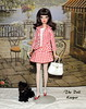 Silkstone Brunette Francie in Check Please (The doll keeper) Tags: silkstone francie doll brunette flip red check dog black white stockings purse