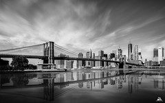 Brooklyn Bridge View from Main Street Park, Brooklyn, New York (Domi Art Photography) Tags: newyork ny nyc manhattan brooklyn bridge brooklynbridge wtc worldtradecentre onewtc oneworldtradecenter building buildings water eastriver noiretblanc blancandwhite bw nb autofocus