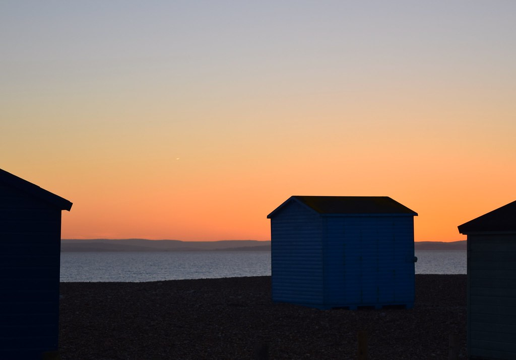 hayling beach and view of Bembridge - in the gloaming