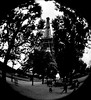 La Tour Eiffel (wordman760) Tags: paris france minolta x370 semifisheyelens kodak tmz 3200asa professional 35mm monochrome negative film outdoors daylight july 1990 slr