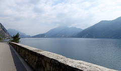 Lake Garda. View direction Riva del Garda and Torbole. Taken from the car.