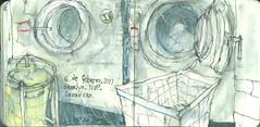 Brooklyn. 71OP, Laundryroom. 6 de febrero, 2017. (Sharon Frost) Tags: laundrerooms washingmachines laundry apartmentbuildings windsorterrace brooklyn sharonfrost urbansketchers journals daybooks sketchbooks paintings drawings