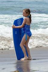 Blue on Blue (Kevin MG) Tags: ocean ca blue girls usa cute beach water kids youth children losangeles sand pretty little young malibu zuma bikini boogieboard zumabeach