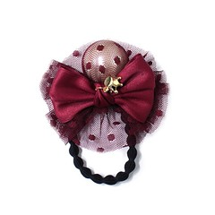 Redwine Ribbon and Pearl ponytail holder (saffronmrk) Tags: mesh ribbon pearl hairaccessory ponytailholder goldplatedcrown
