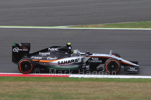 Sergio Perez in Free Practice 3 at the 2015 British Grand Prix at Silverstone