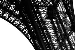 Eiffel Tower - Detail No. 3 (marcel.lewandowsky) Tags: travel blackandwhite bw paris france travelling monochrome architecture canon blackwhite eiffeltower tourist toureiffel architektur schwarzweiss bnw canoneos700d