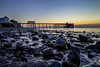 Penarth Beach and Pier #1 (A J Thackway) Tags: longexposure morning pink summer orange seascape water beautiful yellow wales sunrise canon bristol landscape dawn pier early wooden rocks glow south tide cymru august filter walkway milky penarth channel valeofglamorgan 6d refurbished 2015 blackglass f4l ef24105mm 9stop hoyandx400