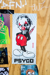 psycho Mouse clown (PDKImages) Tags: art street manchesterstreetgallery manchesterstreetart streetart contrasts couple love artinthecity ripartist faces abandoned girl bee bees manchester walls posterart stencilart heart hidden dmstff cityscape cityscene