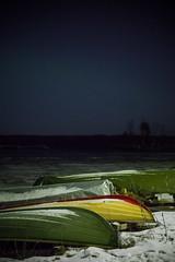 Boats With a Hint of Aurora (Ville Nikula) Tags: näsijärvi rauhaniemi tampere auroraborealis boat järvi lake ranta revontulet shore vene