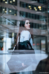 Reflections. (kaybee07) Tags: 5dmk3 canon model unionstation winter fashion mood moody portrait cold blue glass windows window reflections reflection