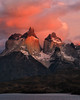 Los Cuernos Portrait (Rob Kroenert) Tags: los cuernos torres del paine torresdelpaine national park chile chilean patagonia south america sunrise dawn early light pink orange red clouds hosteria pehoe lake