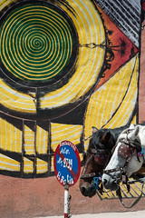 Horses, traffic sign and streetart @ Marrakech (PaulHoo) Tags: donkey animal marrakech morroco streetart graffiti 2016 city urban candid streetcandid portrait color traffic