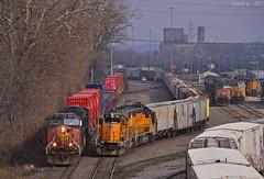 "UP Trains in Kansas City, MO (""Righteous"" Grant G.) Tags: up union pacific sp espee southern kansas city missouri emd ge power train trains intermodal yard job"