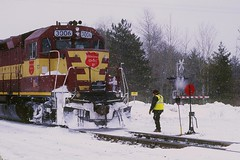 Winter Railroading (Hoist!Man) Tags: bradleywi wc wisconsincentral gp40 winter snow train locomotive film pentax