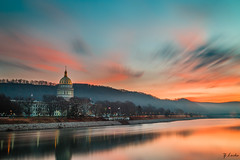 In Motion (zachary.locks) Tags: blue blurred building capitol charleston clouds colorful cy365 early exposure gold golden hour kanawha long morning motion movement photography river showing sky streaks sunrise water westvirginia wv zlocks