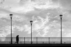 in lockstep (Sabinche) Tags: bw people bridge altebrücke frankfurt hometown lantern couple panasonic lumix dmcfz2000 monochrome sabinche sky cloud