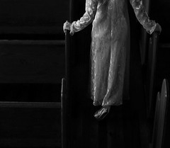 Tired of Waiting for You (coollessons2004) Tags: krystalsmith church woman white dress shoes gloves vintage blackandwhite elegant elegance