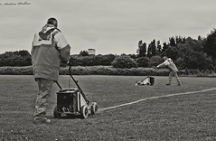 the line marker (stacked) (andyp178) Tags: bw white field grass paint baseball line marker pitch stacked d3100