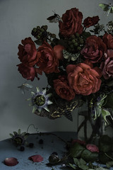 Roses and Passiflora (Ken Marten) Tags: roses stilllife photoshop moths passiflora passionflower oldmaster redroses vanitas lunarmoth deathheadmoth