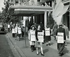 Striking workers picket Mayflower hotel: 1946 (washington_area_spark) Tags: vacation restaurant hotel dc washington workers union wave tips strike schedules mayflower picket employees 1946 wages
