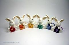 Little Crocheting Bunnies (QuernusCrafts) Tags: cute bunnies rainbow crochet polymerclay crocheting quernuscrafts