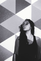 ...but I don't really mind (Gabriela Mendes ) Tags: original portrait white black art girl beautiful triangle experimental pattern cigarette smoke style