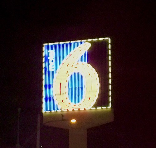Motel 6 - We'll leave the neon light on for you.  Yes, the neon lights are bright in Las Vegas at #CES2017