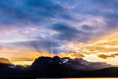 The Festival of celestial Light (*Capture the Moment*) Tags: 2012 abend abendstimmung clouds cruise cruiseship evening himmel hurtigruten licht norway norwegen sky wolken cloudy neartromsoe