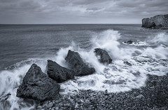 Impact (Glenn D Reay) Tags: southshields trowrocks seascape monochrome mono waves rocks incoming elevated impact pentaxart pentax k30 sigma1770hsm glennreay