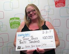 Tiffany Baker - $30,000 Seven Seas Slingo (Idaho Lottery) Tags: idaholottery wooh tiffanybaker boiseidaho sevenseasslingo scratchgames jacksons gardencity luckywinner