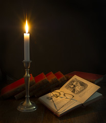 candlelight (keith ellwood) Tags: reading books flame candlestick dark studio long exposure