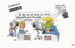 Trump vu par NONO en 2016 (Chti-breton) Tags: caricature trump fascisme télévision armes