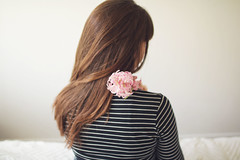 Dreaming about spring (dear marianne) Tags: girl hair self flower hyacinth spring pink stripes soft mood feeling longing selfportrait