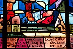 Stained glass detail from panel, Sainte-Mère-Église Church, Normandy, France. (stcaamekid) Tags: manche normandy 1944 airborne 82nd 101st 505th pir saintemèreéglise liberation 82ndairborne stainedglass chartres1947