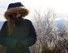 Get Warm (JasonCameron) Tags: utah red rock canyonlands national park canyon land ice plant flora bush girl bundled warm coat eye desert southern cute fun play kid