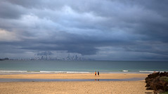 Currumbin to Surfers (bobarcpics) Tags: queensland australianbeaches australiancities skyline gold coast surfersparadise storm ocean beach sand people eveninglight foreshore panorama