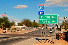 Interstate 40, Lake Havasu, Arizona (Cragin Spring) Tags: sign road street intersection kingman parker arizona az lakehavasu lakehavasuaz lakehavasuarizona arrow direction unitedstates usa unitedstatesofamerica