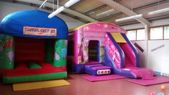 11x13 Celebration bouncy castle (left) only £50 per hire. 18x12 Princess combo (right) only £75 per hire.