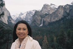 Leah At Tunnel View Yosemite National Park (poavsek) Tags: medalist portra 400 yosemite kodak water fall cataract film 620 park national california nevada sierra