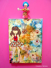 Friends (* Cludia Helena * brincadeira de papel *) Tags: brazil brasil mixedmedia quadro canvas papermache papiermach cludiahelena 16x22cm